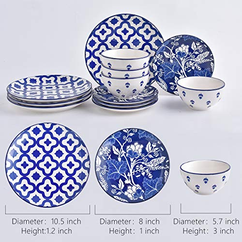 Wisenvoy Dishes Dinnerware Sets Ceramic Plates and Bowls Sets 12-Piece Plate Set Blue Ceiba Dish Set Dinnerware Set