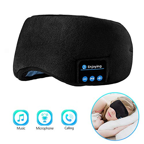Sleep Headphones Bluetooth Eye Mask, Joseche Wireless Bluetooth 5.0 Headphones Music Travel Sleeping Headphones Handsfree Sleeping Mask with Built-in Speakers Microphone Washable (Black)