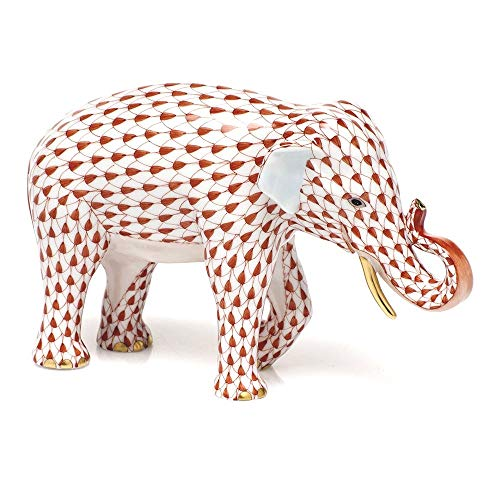 Herend Asian Elephant Porcelain Figurine Rust Fishnet