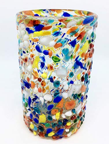 Mexican Blown Glass Drinking Glasses Confetti Rocks (Set of 6)
