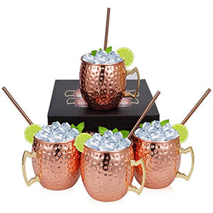 Widousy Moscow Mule Copper Mugs - Set of 4-100% HANDCRAFTED-Pure Solid Copper Mugs 16 oz Gift Set with BONUS :4 Cocktail Copper Straws