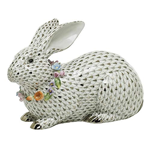 Herend Bunny Rabbit with Garland Porcelain Figurine Reserve Collection
