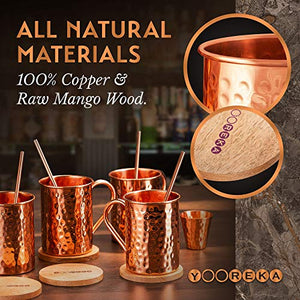 Moscow Mule Copper Mugs Set :4 16 oz. Solid Genuine Copper Mugs Cylindrical Shape : Handmade in India, 4 Straws, 4 Wood Coasters, Shot Glass : Comes in Elegant Gift Box,by Yooreka