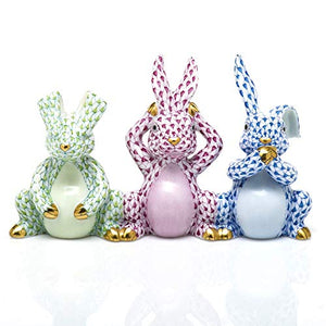 Herend Three Wise Bunny Rabbit Porcelain Figurine Multicolor Fishnet