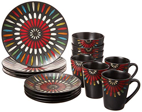 American Atelier 6214-16-RB 16 Piece Stellata Dinnerware Set, Multicolor