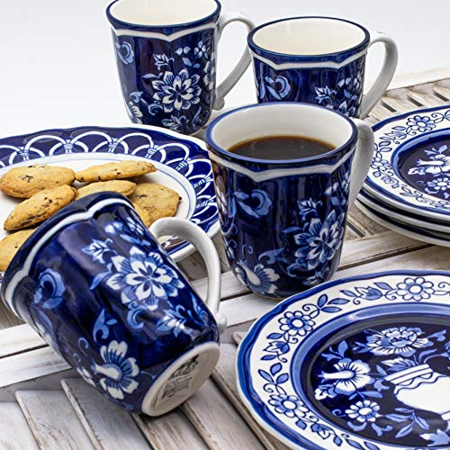 Blue Garden 16 Piece Dinnerware Set (Service for 4) Multi Color White Floral Oriental Traditional Round Ceramic Stoneware Dishwasher Safe Microwave