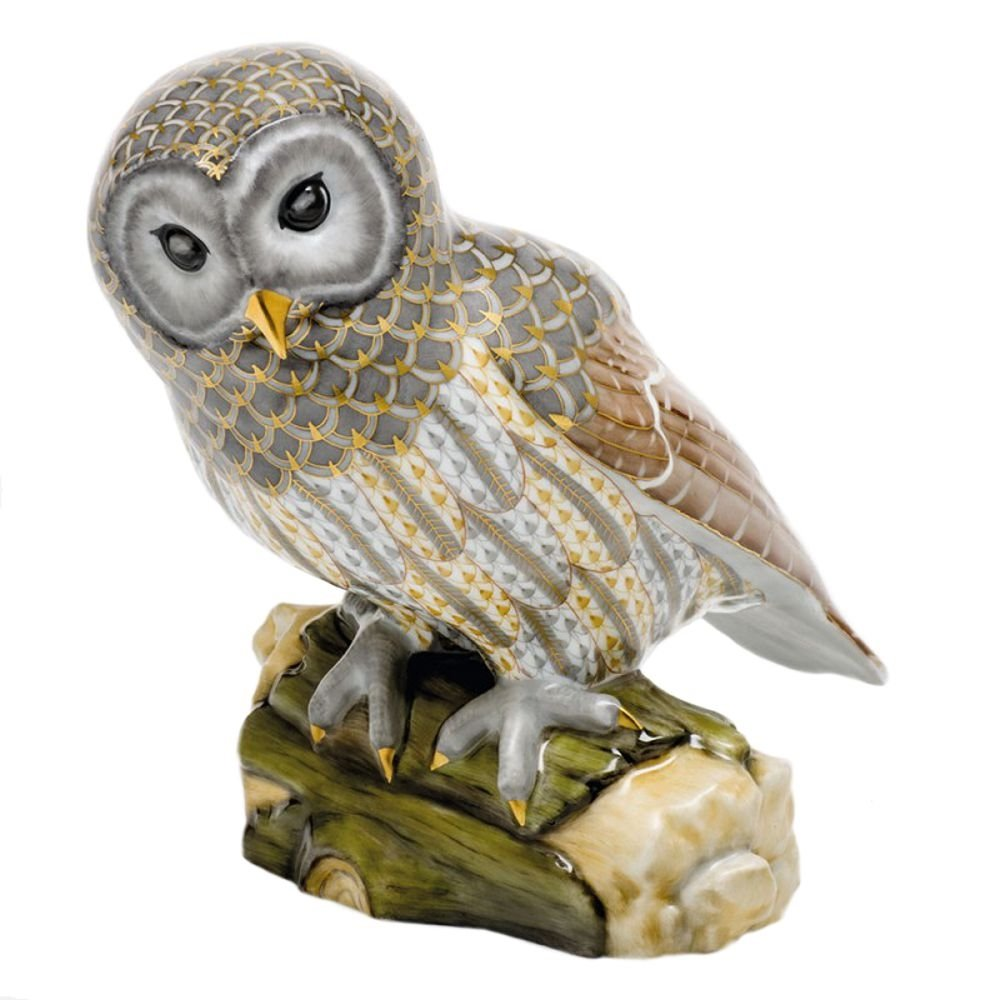 Herend Gray Barred Owl Porcelain Figurine Reserve Collection