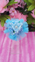 Light Blue Tulle Floral Embellished Hair Clip