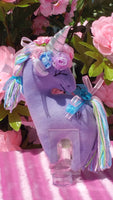 Lavender Felt Small Unicorn with Floral Rhinestone Embellishment
