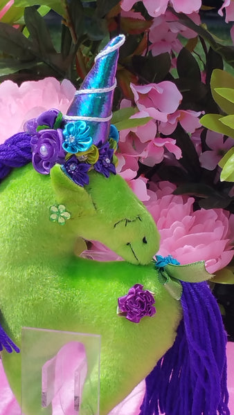 Small Lime Unicorn with Purple Floral Embellishment