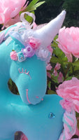 Turquoise Cotton Knit Unicorn with Heart Embellishment