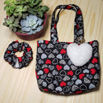 Mini Tote Bag, Heart Pom Pom Keychain and Scrunchie