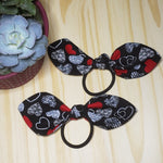 Heart Removable Cotton Bow Hair Ties