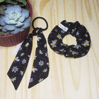 Black Bee Removable Cotton Tail Hair Ties