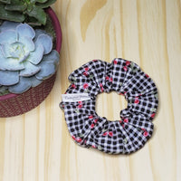 Checker Cherry Retro Scrunchie