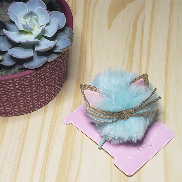 Cat Pom Pom Ponytail Holder