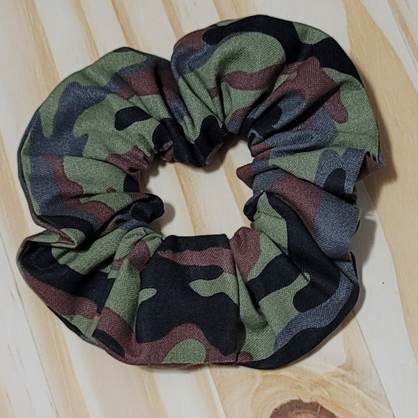 Green Camo Scrunchie