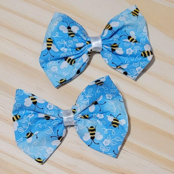 Bee Blues Bow Hair Clips