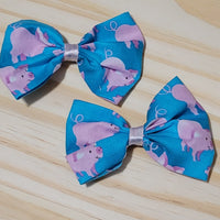 Piggy Play Bow Hair Clips