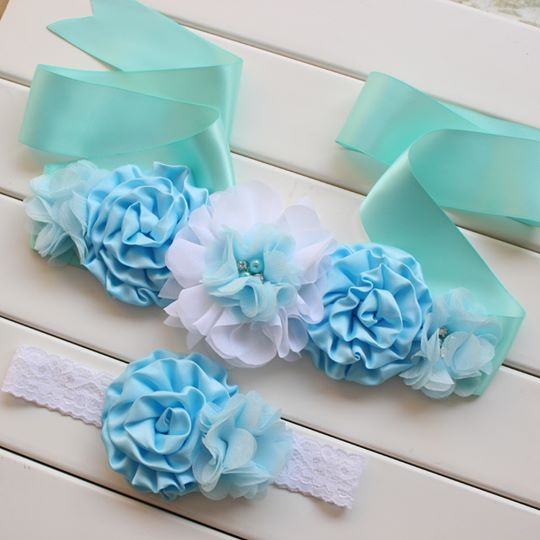 Baby Blue Sash and Matching Headband
