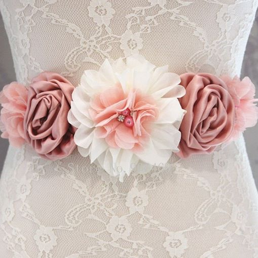 Dark Pink Floral Sash and Matching Headband