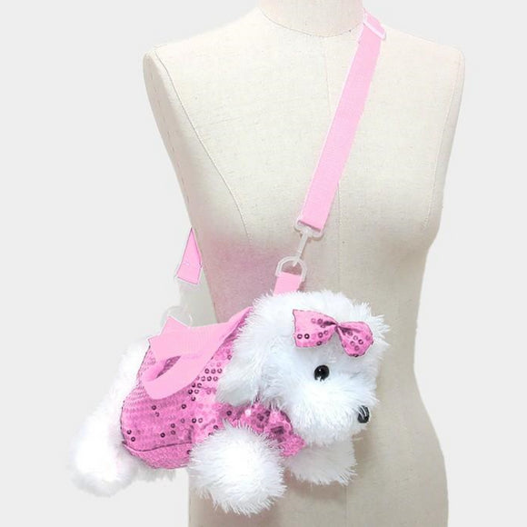 Sequin Dog Purse