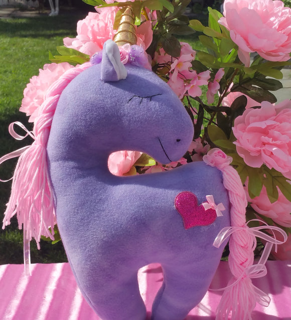 Purple Unicorn with Pink Glitter Heart Embellishment