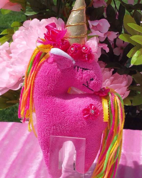 Small Hot Pink Unicorn with Pink Floral Embellishment