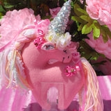 Small Coral Unicorn with Sequin Horn