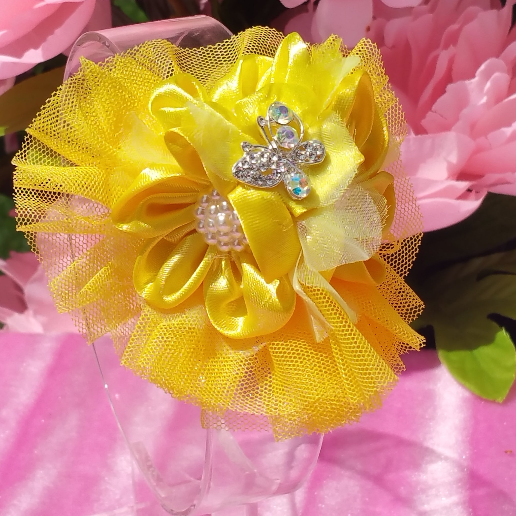 Yellow Floral Tulle Hair Clip with Butterfly Embellishment