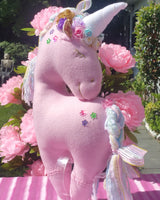 Pink Unicorn with Multicolor Embellishments