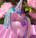 Small Pink Unicorn with Purple Floral Embellishment