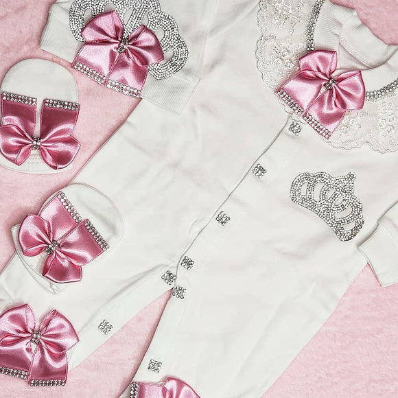 Royal Princess Crown Pink and White 3 Piece Take Me Home Outfit