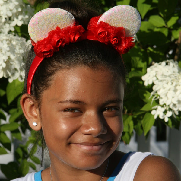 White Sequin Minnie Mouse Ears with Red Headband & Flowers