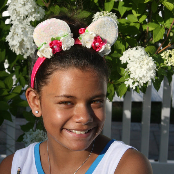 White Sequin Minnie Mouse Ears on Hot Pink Headband with White & Hot Pink Flowers