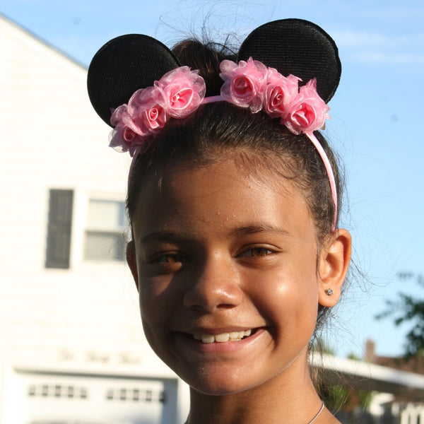 Black Glitter Minnie Mouse Ears on a Pink Headband with Pink Flowers
