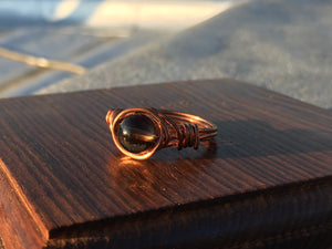 Smokey Quartz Copper Ring