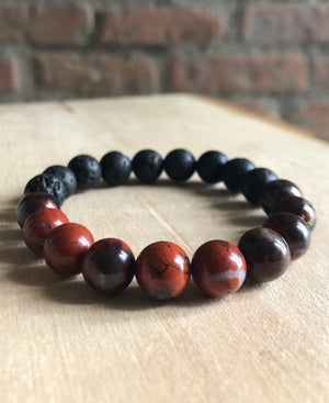 Grounding Bracelet w/ Red Jasper and Lava Stone 10mm