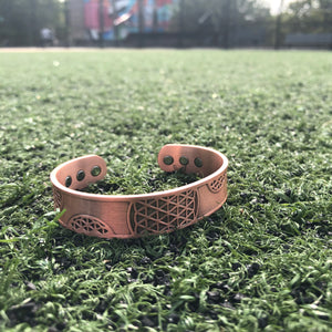 Raw Copper Flower of Life Magnetic Bracelet