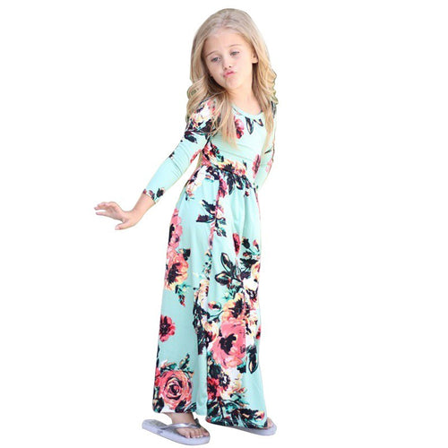 Girls Long Dress 2019 Summer Bohemian Long/Short Sleeve Print Flower Birthday Party Maxi Dresses Floral Kids Beach Wear Clothes