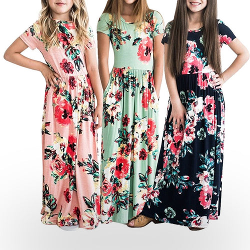 Girls dress Long Dress Casual Beach Party Bohemia Maxi Dress with Pocket Casual Sundress Outfits Beachwear Dresses For Children