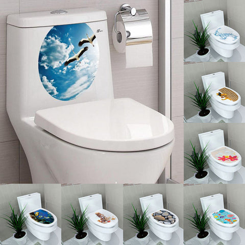 Creative 1PC 3D Toilet Seat Wall Sticker