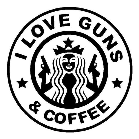 I Love Guns And Coffee Funny Vinyl Decal Automobile Sticker