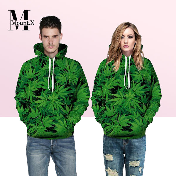 【New Arrival】Green Leaves Hoodies Men/Women Sweatshirt With Cap