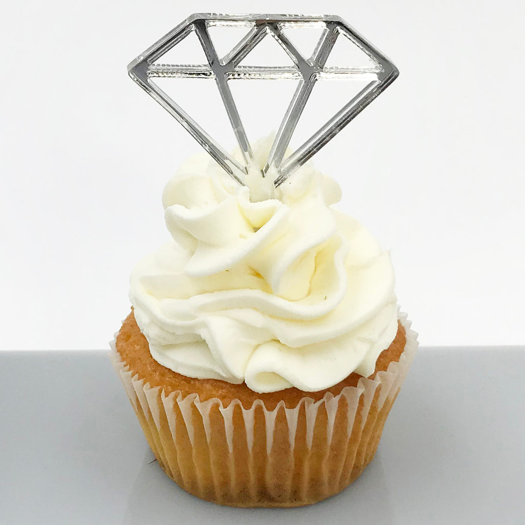 Silver Mirror Diamond Cupcake Topper