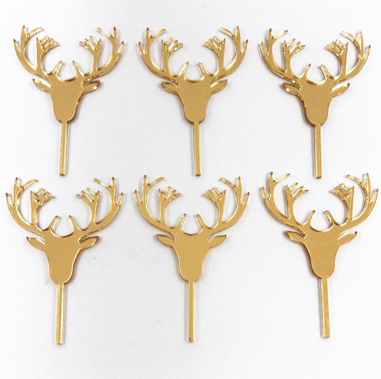 Gold Mirror Christmas Deer Cupcake Topper