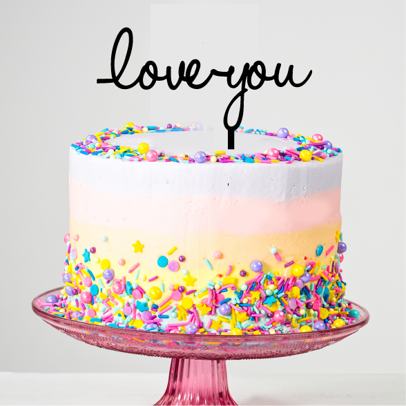 Love You Valentines Day Cake Topper