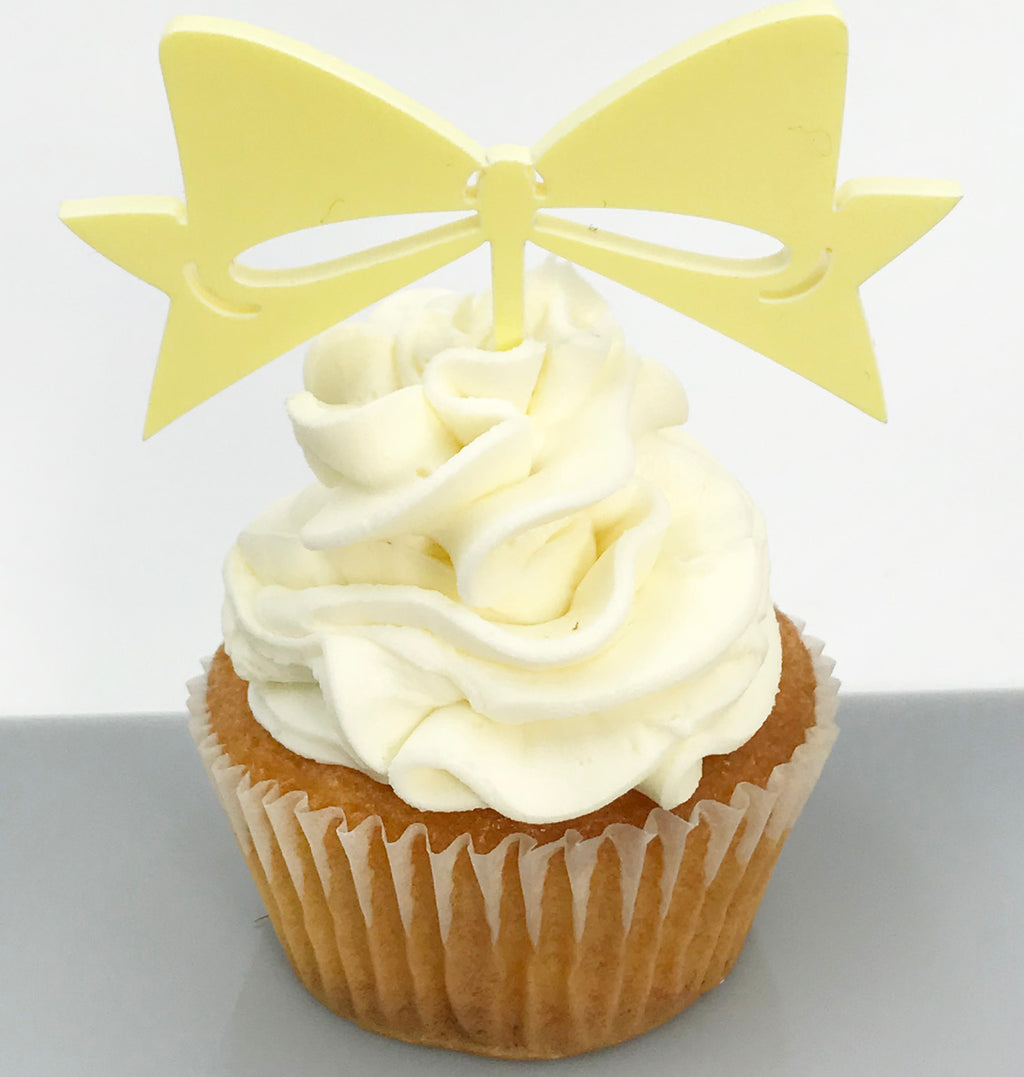 Lemon Yellow Bow Cupcake Topper