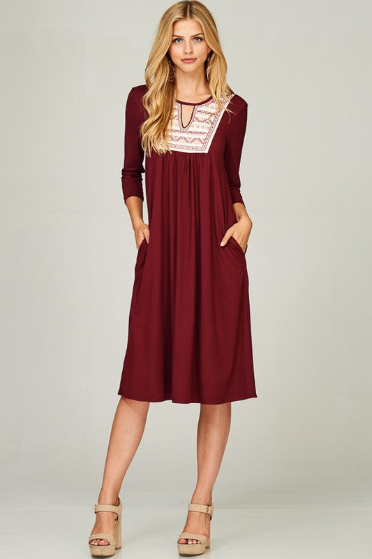 Women's Maroon Embroidered Dress