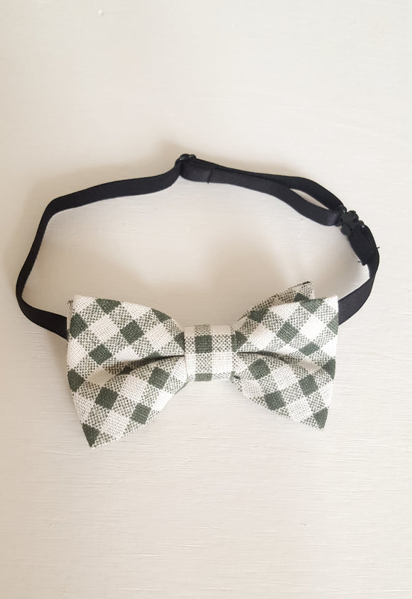 Forest Green Plaid Bow Tie